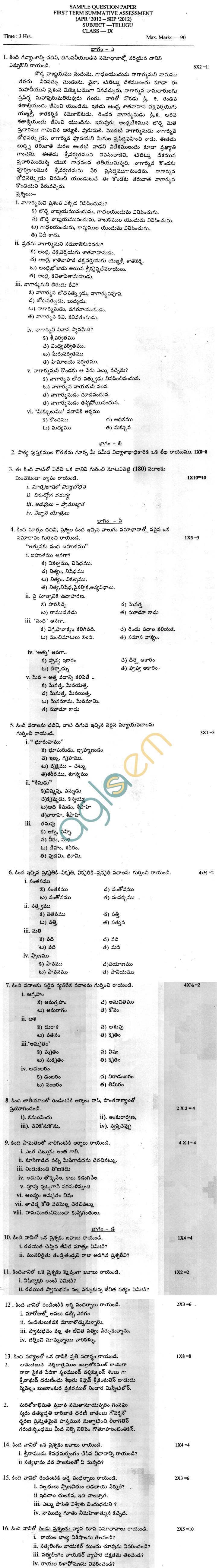 CBSE Board Exam 2013 Sample Papers (SA1) Class IX - Telgu