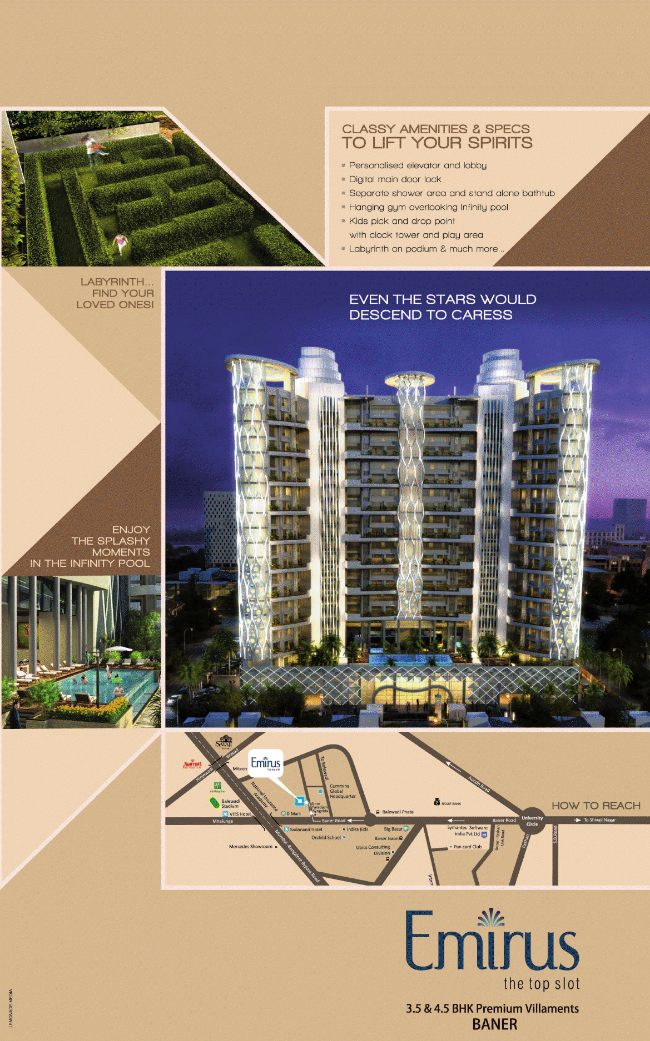 Emirus 3.5 BHK (2088 / 2153 Saleable) & 4.5 BHK (2939 Saleable) Flats at Sr. no. 107, Baner Road, Near D' Mart, Baner, Pune- 411 045, Maharashtra, India. 2