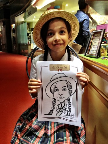 caricature live sketching for Au Chocolat Opening - 3