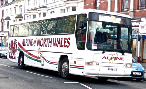 M953 TSX 'Alpine North Wales' Volvo B10M / Plaxton Interurban. on 'Dennis Basfords railsroadsrunways.blogspot.co.uk'