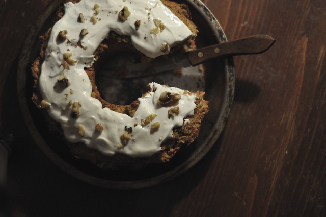 carrot cake with yogurt and walnuts