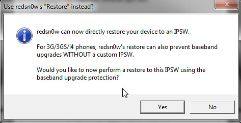 redsn0w iOS 6 direct restore