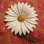 Enamel daisy pin from tag sale in Wantagh