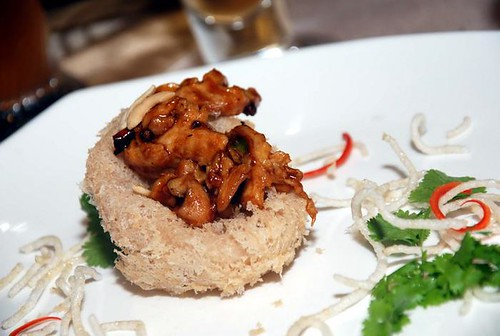 Oktoberfest Kong Poh Style Chicken with Dried Chilies and Cashew Nuts in Yam Ring
