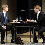 Tom Nelis as John, Sr. and Grant MacDermott as John in the Huntington's production of Christopher Shinn's political drama NOW OR LATER directed by Michael Wilson, playing Oct. 12 — Nov. 10. 2012 at the South End / Calderwood Pavilion at the BCA. Photo: Paul Marotta