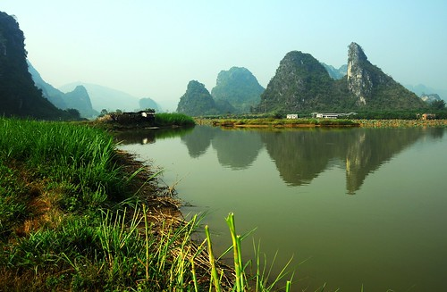 china reflection nature water field ripple hills mel limestone melinda qingyuan 清遠 英西峰林 小桂林 chanmelmel melindachan 九龍鎮