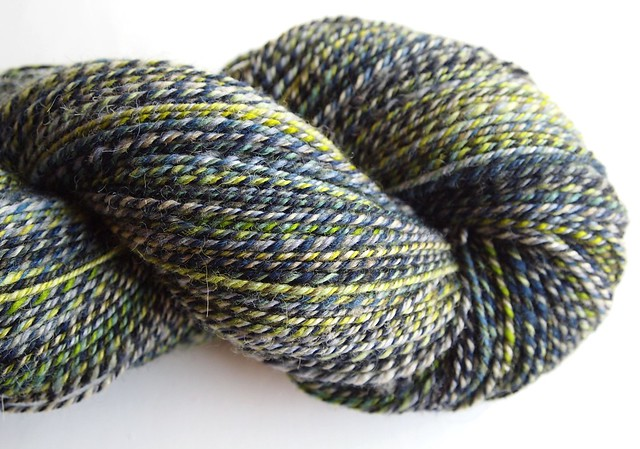 SCF-Fiber Club September 2012-Submerge-Shetland-3-ply with one ply Bamboo Forest
