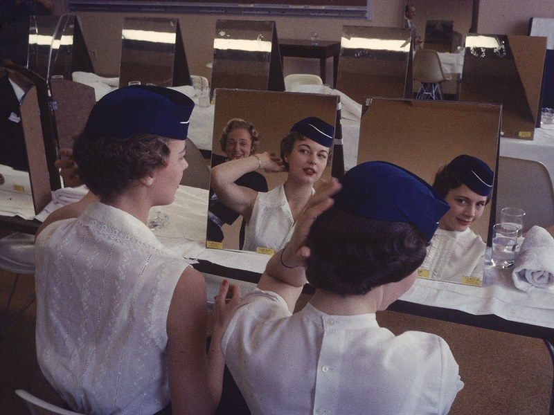flight-attendants-in-training-learning-grooming-techniques-at-flight-attendant-college-in-texas-in-1958