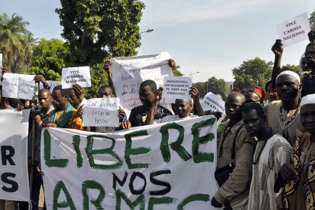 Malians demonstrating against the United Nations Security Council resolution authorizing the use of force to put down the Tuareg insurgency in the north of the West African state. The protest took place on October 18, 2012. by Pan-African News Wire File Photos