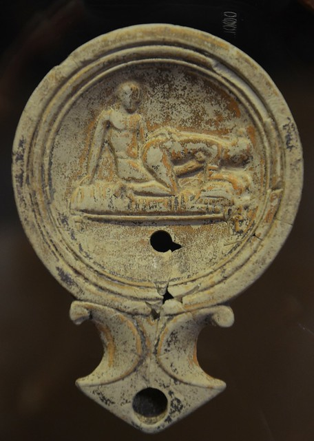 Oil lamp with erotic scene, Romisch-Germanisches Museum, Cologne