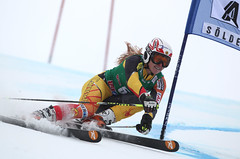 Erin Mielzynski at the World Cup giant slalom in Soelden, Austria.