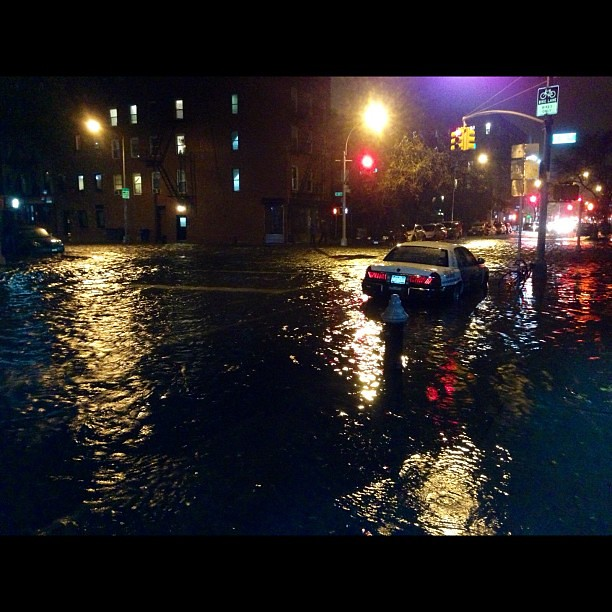 Storm water rushing thru Alphabet City / #EastVillage! Ave C bet. 9th + 11th St. #NYC #sandy