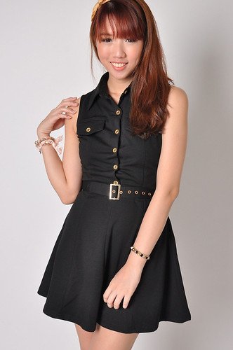 Collared Shirt Dress in Black