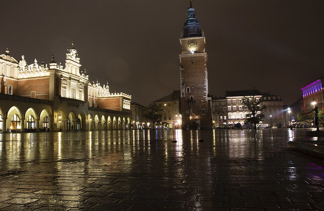 Cracow Main Square Market at Night