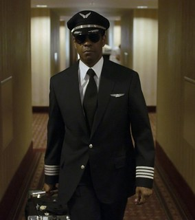 Denzel Washington in pilot's uniform for Flight.