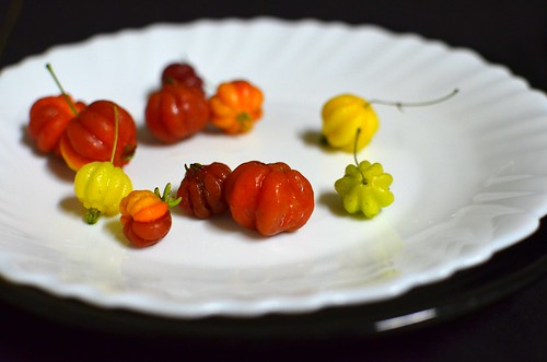 Pitanga cherries on a plate