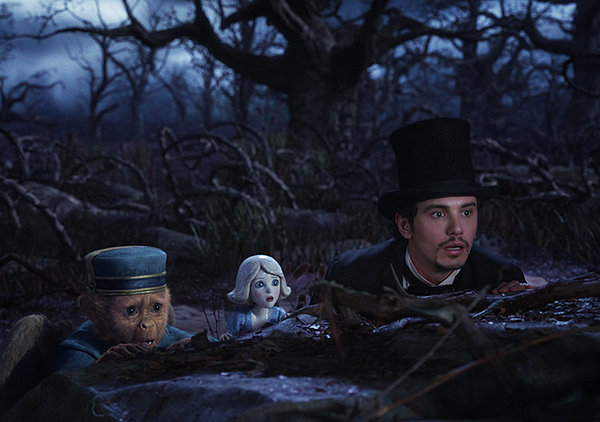 James Franco has a bit of an adventure with a bellhop monkey and a China girl (voiced by Zach Braff and Joey King) in OZ THE GREAT AND POWERFUL.