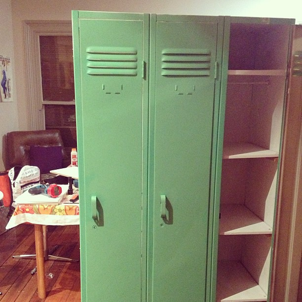 Stage 3 of locker DIY project complete. Who knew I could make shelves and drill through metal!?