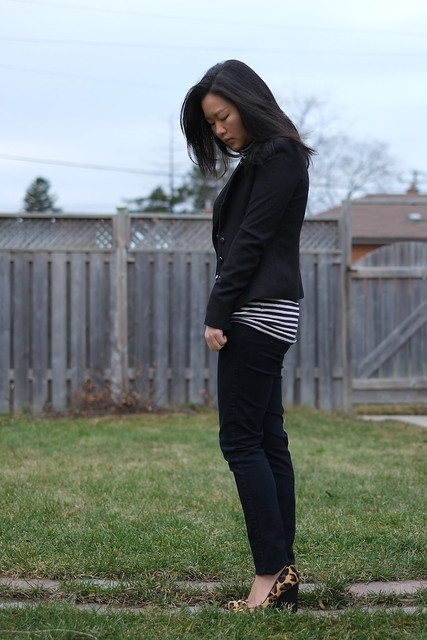 RWCo blazer, JCrew stripes, Nine West leopard wedge heels
