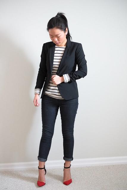 Gap blazer, Zara stripe shirt and ankle strap heels