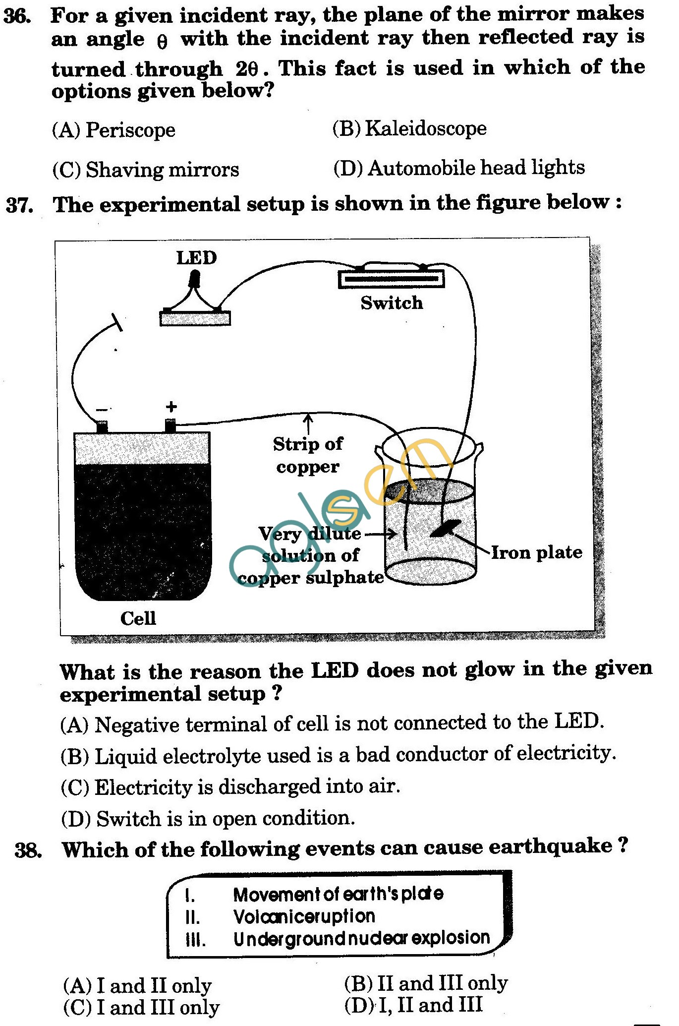 NSTSE 2010: Class VIII Question Paper with Answers - Physics