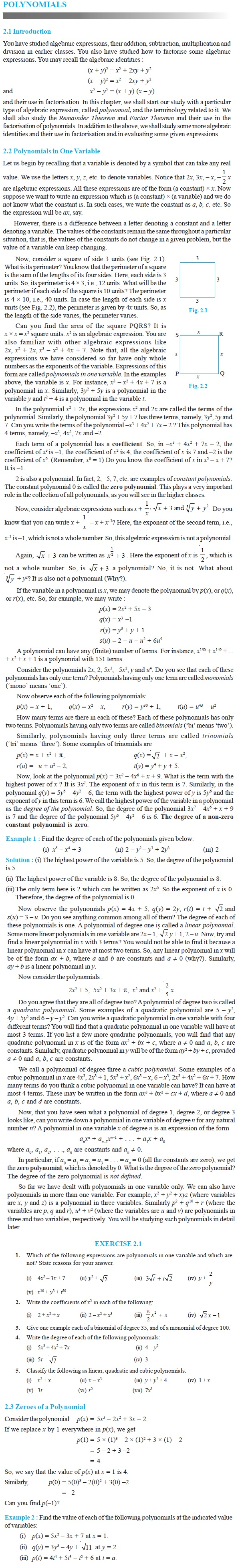 NCERT Class IX Maths Chapter 2 Polynomials