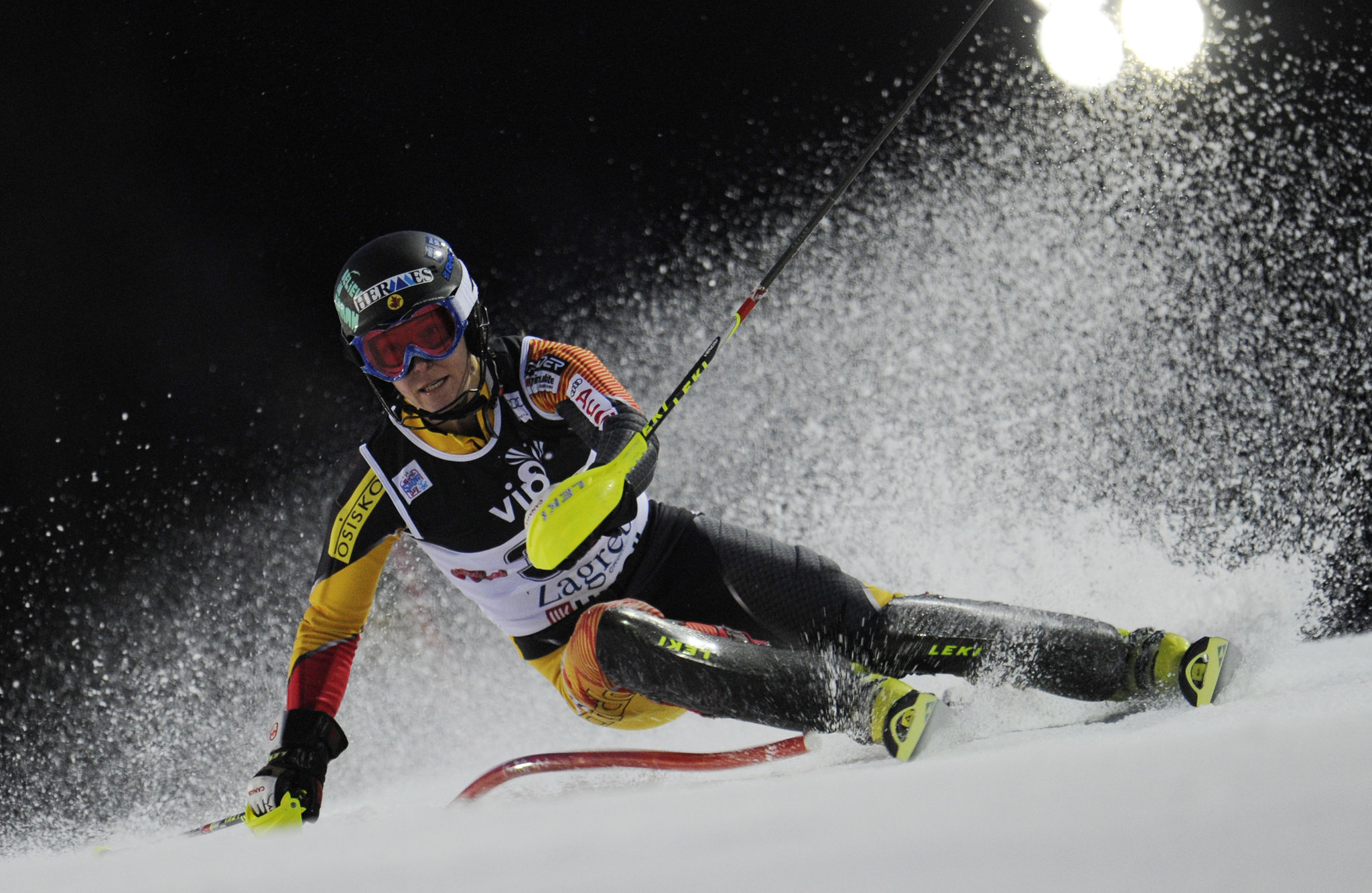Brittany Phelan navigates a gate in the World Cup night slalom in Zagreb, Croatia.