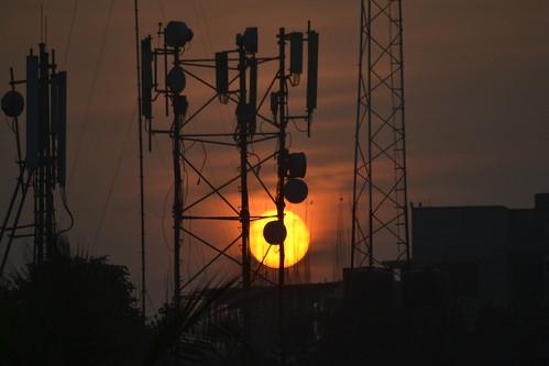 sunset sun dhaka bangladesh dhanmondi telecommunicationtower bashirbd mskarimবশীর