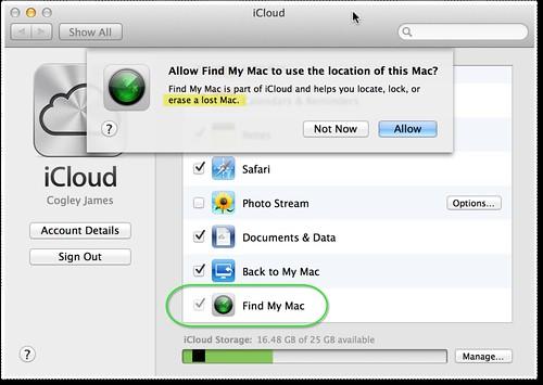 Screenshot of OS X iCloud remote wipe setup.
