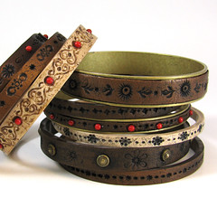 Faux Tooled Leather Bracelets