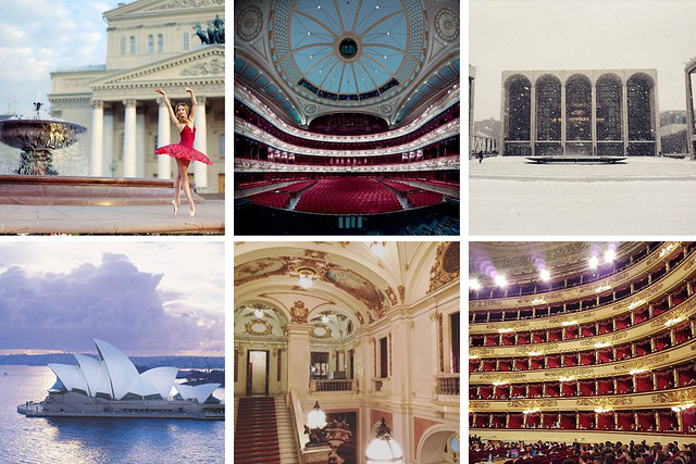 Top Opera House Instagrams to follow © (Left to right) Bolshoi Theatre, Royal Opera House, Lincoln Centre, Sydney Opera House, Kungliga Operan and Teatro alla Scala