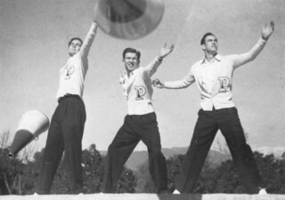 Football yell leaders Dick Shelton, Jack Shelton and Bob Maddox in 1939