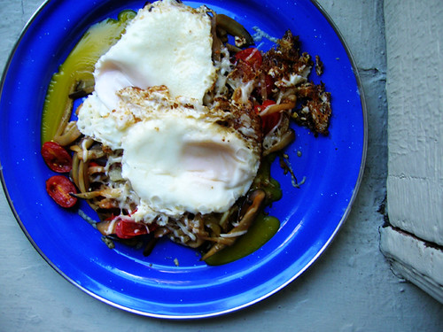 fried eggs and eggplant noodles