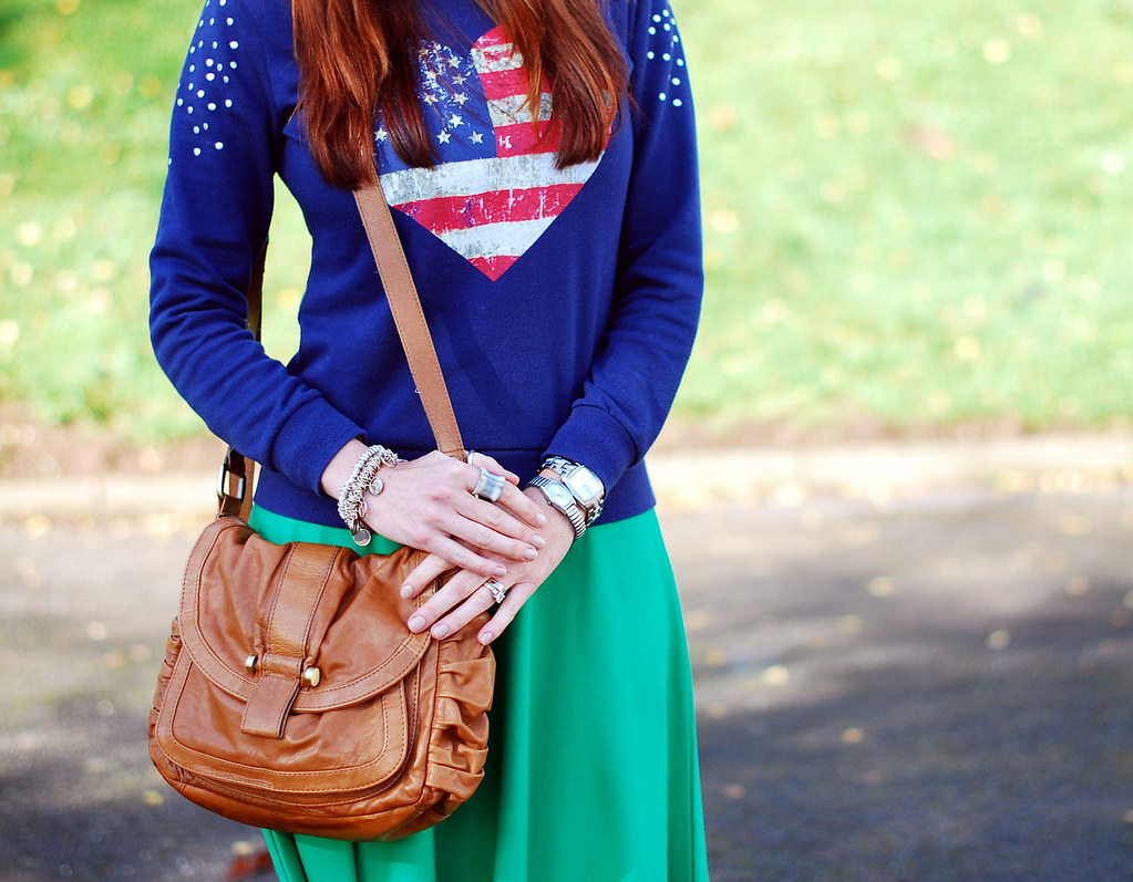Studded Stars n Stripes Sweatshirt and Kelly Green