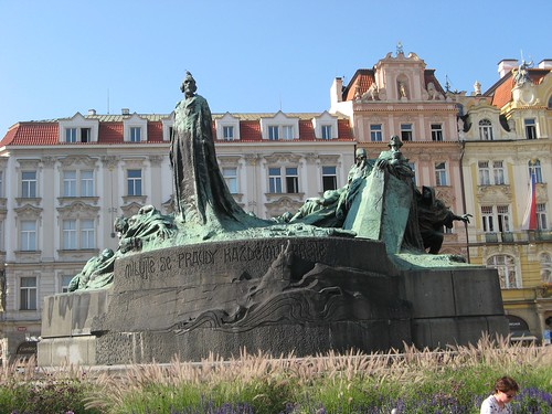 Jan Hus Memorial of Old Town Square in Prague, Czech Republic
