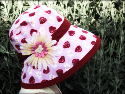 strawberry and flower hat for Ms. M