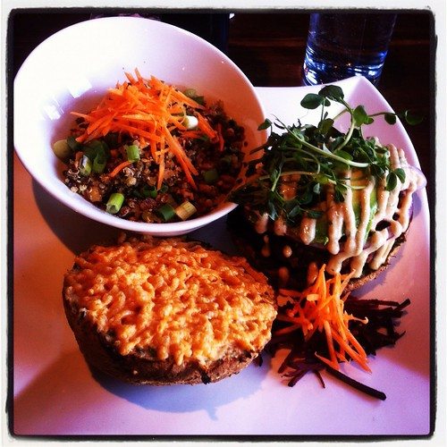 Bodhi Burger with Whirling Dervish Quinoa Salad by raise my voice