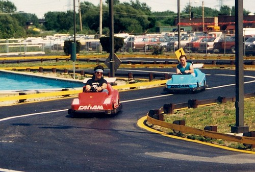 Eddie and Steve racing on the Go Kart track.  Funtime Square.  Alsip Illinois.  May 1988. by Eddie from Chicago