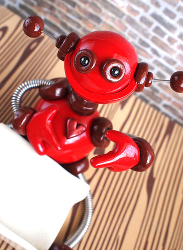 Red Randall the Robot Business Card Holder by HerArtSheLoves