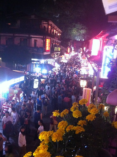It's extremelyh busy in West Street at night (Yangshuo)