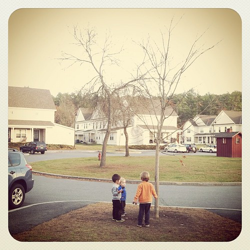 #latergram The boys playing with a neighbor yesterday. Sad to see all the leaves gone. =(