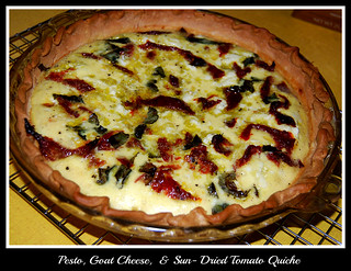 Pesto, Goat cheese, and Sun Dried tomato quiche