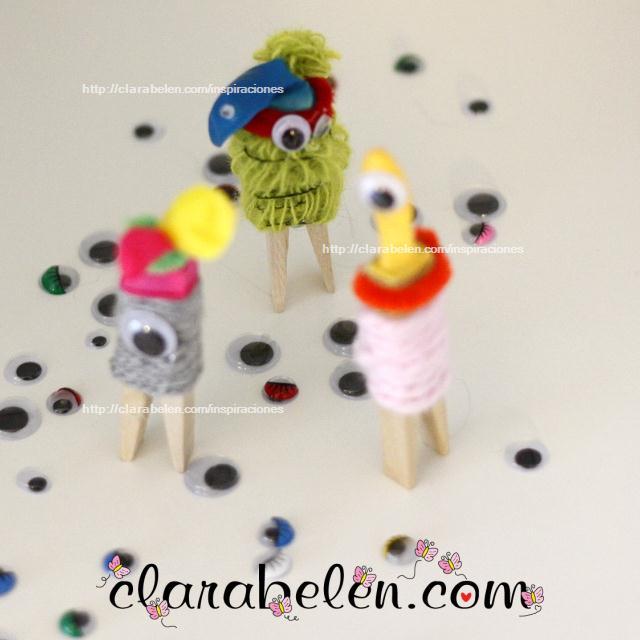 Monstruo de Halloween con pinzas