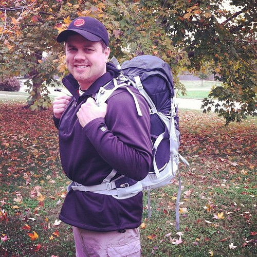 My manly man heading out on his first ever backpacking adventure. So excited for him. I'm kinda diggin' this look too.