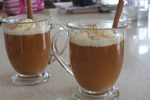 Crock pot Spiced Apple Cider with Whipped Cream