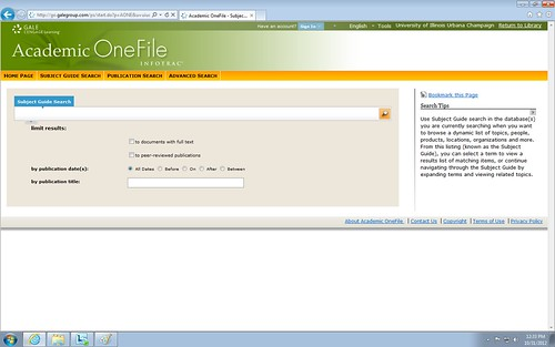 Screen shot of the Academic OneFile home screen