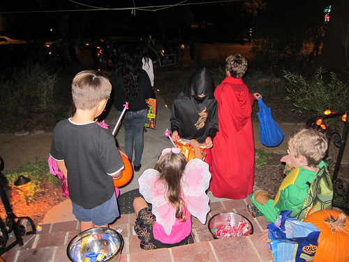 Handing out candy