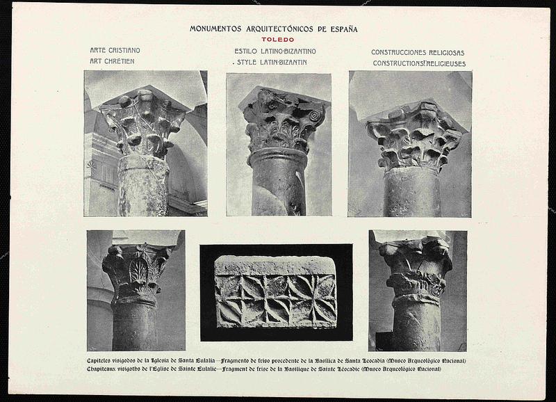 Fotografías de capiteles y elementos visigóticos de la Iglesia de Santa Eulalia publicadas en la reedición de 1905 de Monumentos Arquitectónicos de España de Amador de los Ríos