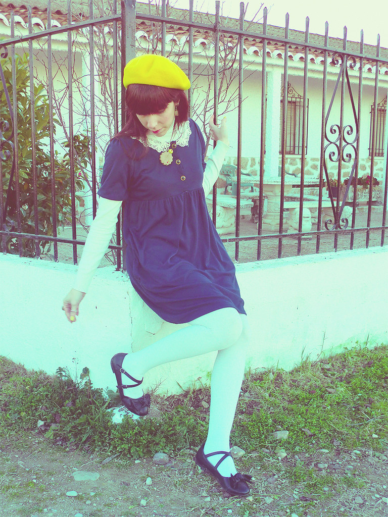 Madeline Inspired: Blue Dress, Yellow Beret, Black Shoes