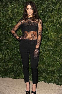 Ashley Greene Black Crop Pants Celebrity Style Women's Fashion